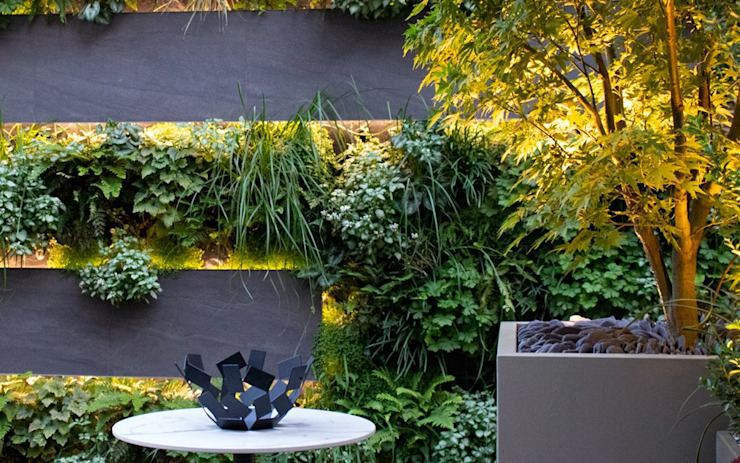 Small contemporary roof terrace garden with a green wall MyLandscapes Garden Design 庭院