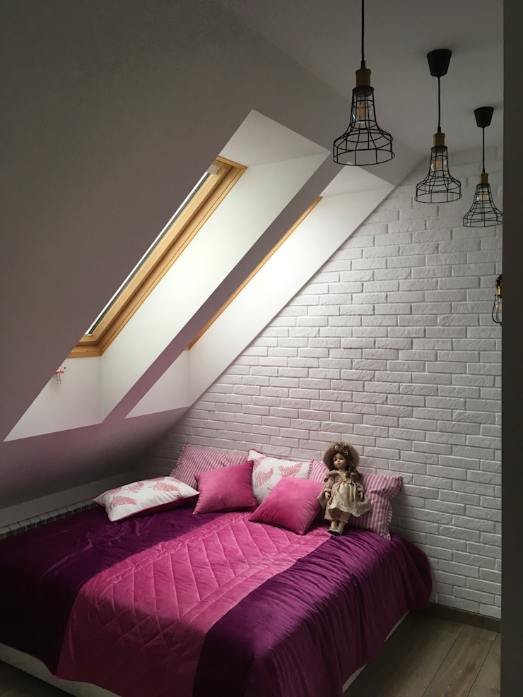 TOPOS Scandinavian style bedroom Bricks White
