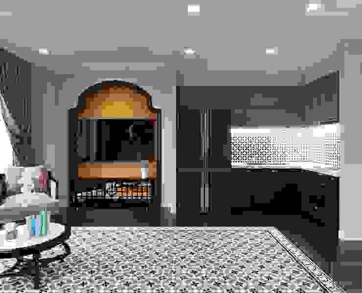 Phong cách nội thất phương Đông với tông màu <q>HỒNG</q> Phòng khách phong cách châu Á bởi ICON INTERIOR Châu Á