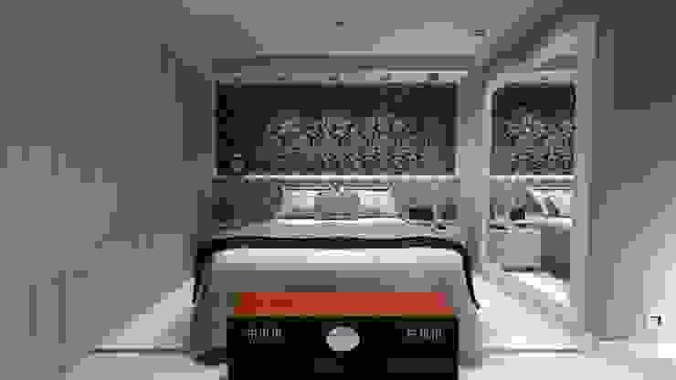 Vista Frontal Dormitório com Baú Clássico. homify Quartos pequenos Madeira Cinzento