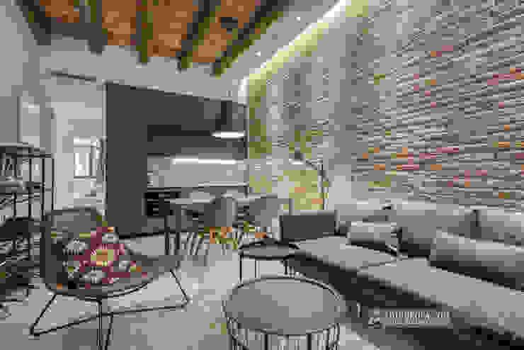 Pocos metros para tan buen gusto en un salón, comedor y cocina Carlos Sánchez Pereyra | Artitecture Photo | Fotógrafo Salones de estilo ecléctico