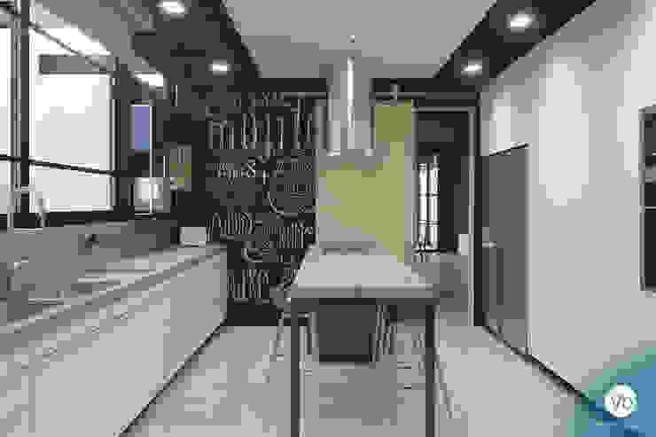 studio vtx Industrial style kitchen Concrete Blue