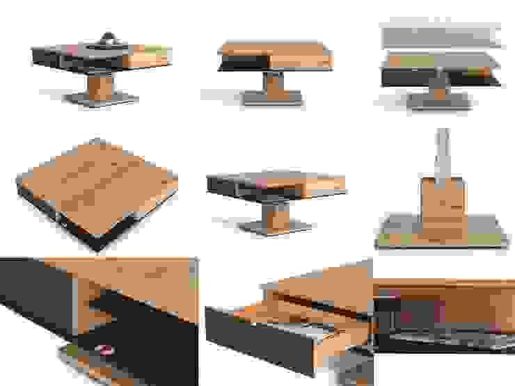 Table basse avec pied télescopique et hauteur réglable Salle à manger moderne par Imagine Outlet Moderne Bois massif Multicolore