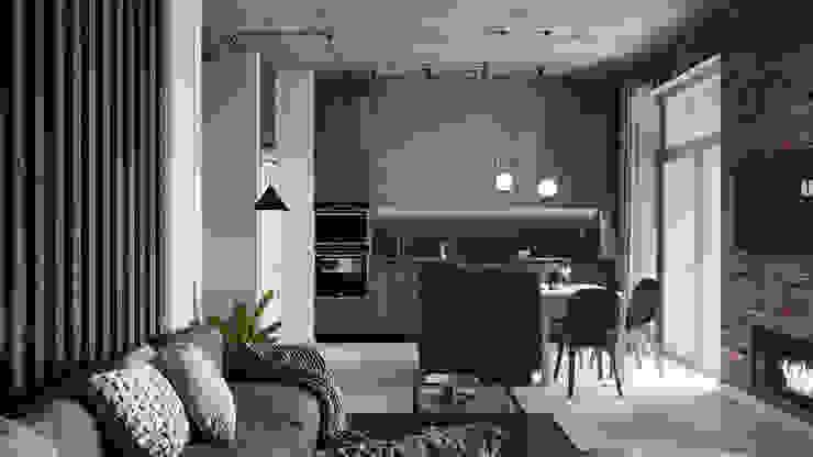 klever-loft Гостиная в стиле лофт от V2 ARCHITECTS Лофт Дерево Эффект древесины