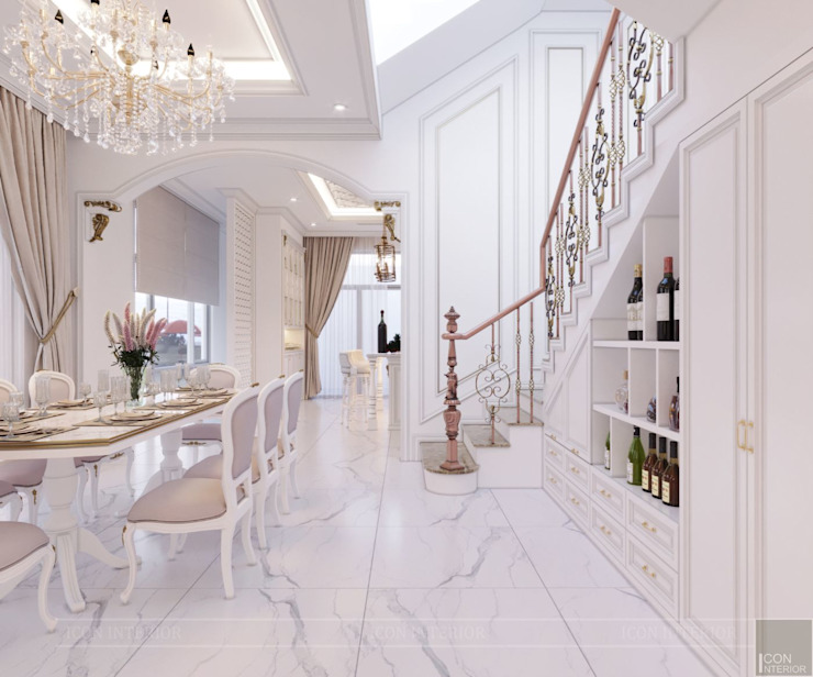Thiết kế biệt thự Tân Cổ Điển 2 tầng sang trọng và đẳng cấp Châu Âu Phòng ăn phong cách kinh điển bởi ICON INTERIOR Kinh điển