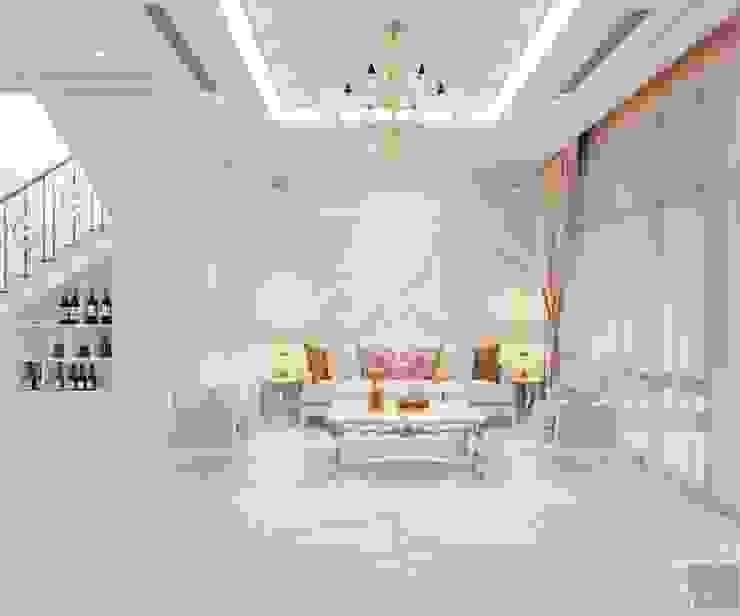 Thiết kế biệt thự Tân Cổ Điển 2 tầng sang trọng và đẳng cấp Châu Âu Phòng khách phong cách kinh điển bởi ICON INTERIOR Kinh điển