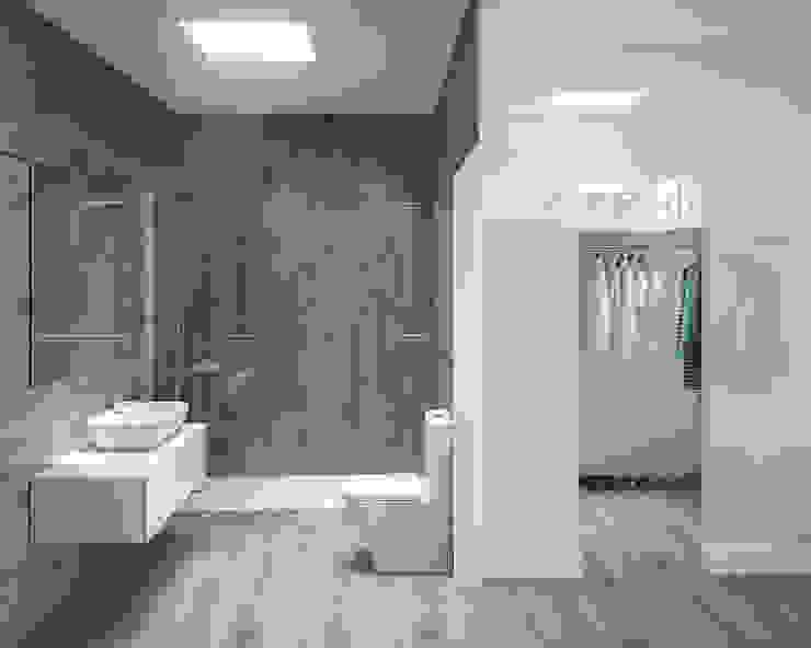 Baño y vestidor de suite. Baños de estilo moderno de ARQUIJOVEN SLP Moderno Cerámico