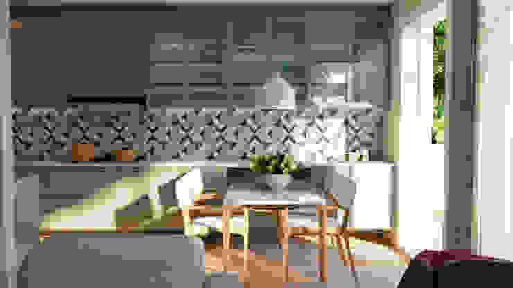Elaine Hormann Architecture ห้องทานข้าวโต๊ะ กระจกและแก้ว Blue