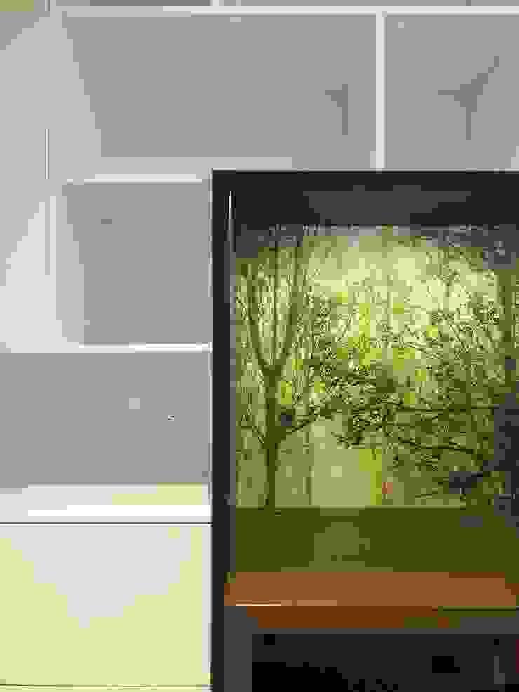 entrearquitectosestudio Modern style study/office Chipboard Green