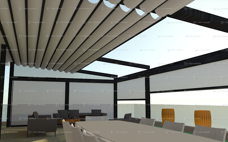 Dakhla Pergolas with retractable roofs and Qatif Drop Blinds by Outdoor Genie Modern