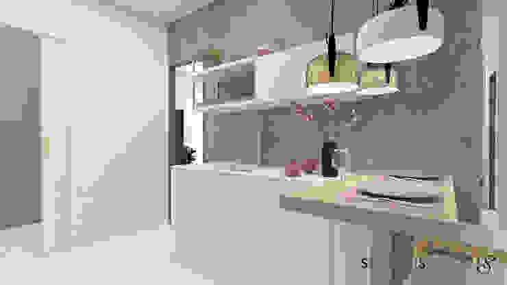 Cucina...area di lavoro e snack: Cucina in stile  di serenascaioli_progettidinterni, Moderno