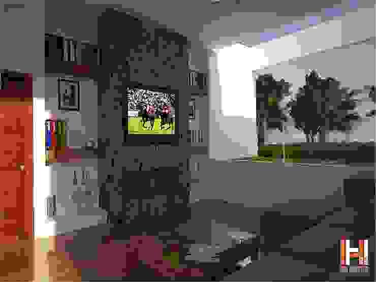 SALA TV CON VISTA EXTERIOR Salones modernos de HHRG ARQUITECTOS Moderno