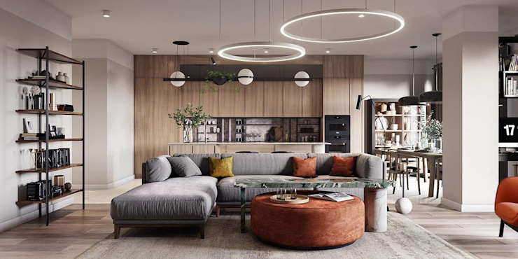 4 BHK Penthouse Modern living room by Inception Design Cell Modern