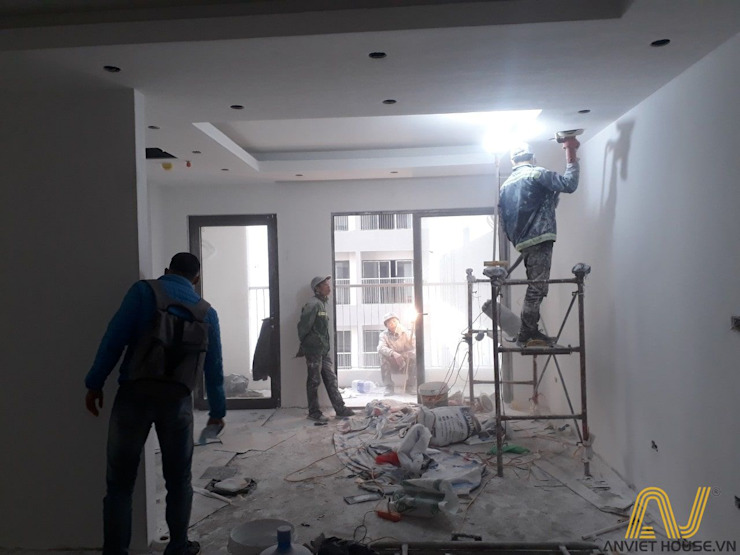Quá trình thi công nội thất chung cư trọn gói tại An Viet House: hiện đại  by An Viet Trading and Interior Service Joint Stock Company, Hiện đại