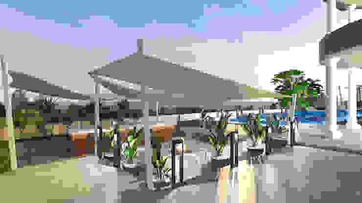 outdoor fireplace seating area من Saif Mourad Creations حداثي