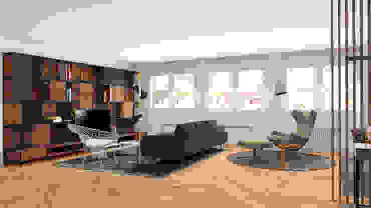 VISTA SALON DESDE EL HALL Salones de estilo minimalista de arQmonia estudio, Arquitectos de interior, Asturias Minimalista