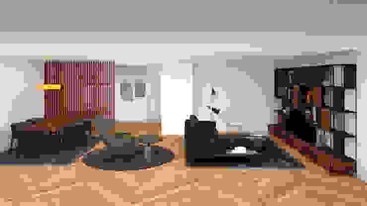 SALÓN PRINCIPAL CON TRES AMBIENTES Salones de estilo minimalista de arQmonia estudio, Arquitectos de interior, Asturias Minimalista