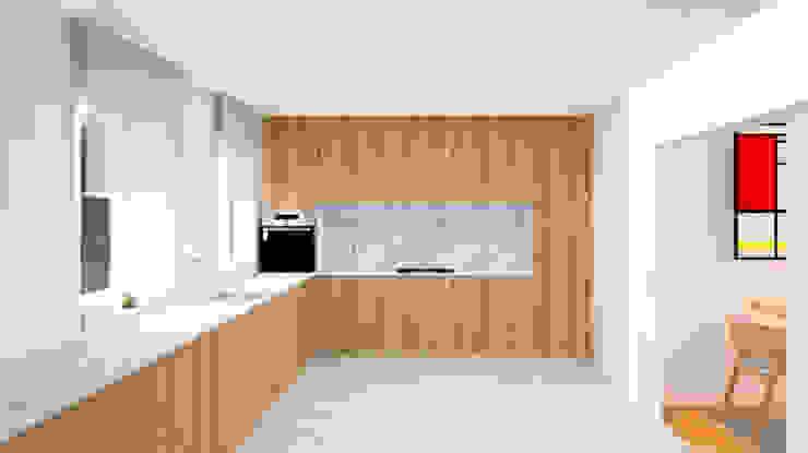 COCINA CON UNA ENORME MESETA Cocinas de estilo minimalista de arQmonia estudio, Arquitectos de interior, Asturias Minimalista