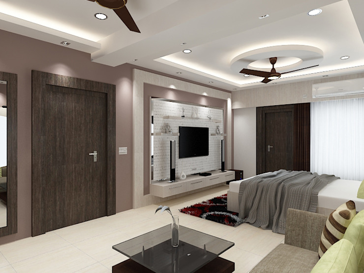 Master Bedroom with a Seating Area Concept Modern walls & floors by Kphomes Modern