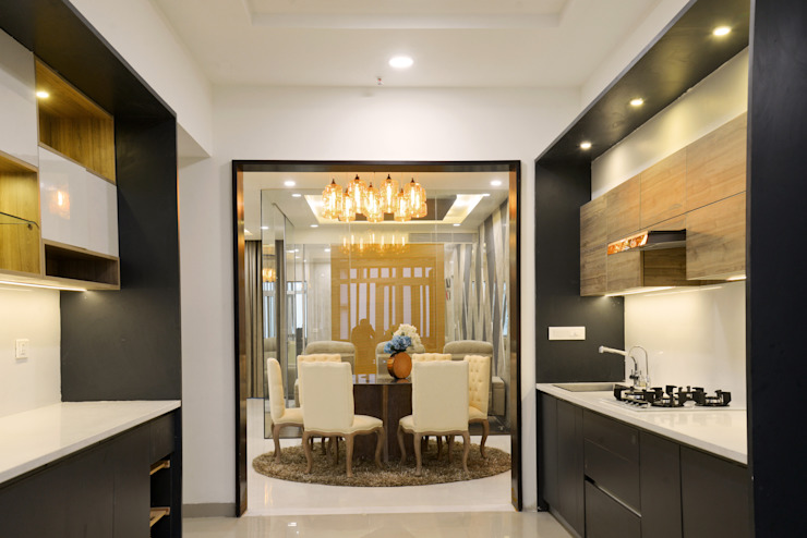 A sky villa with royalty and luxury KREATIVE HOUSE CuisinePlacards & stockage Contreplaqué Gris