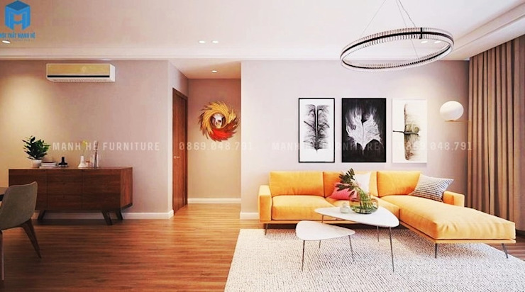 Nội thất phòng khách ấn tượng bởi Công ty TNHH Nội Thất Mạnh Hệ Hiện đại Gỗ Wood effect