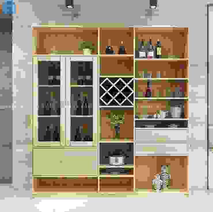 Thiết kế nội thất căn hộ cao cấp ECO GREEN SAI GON – 97m2 – 3 phòng ngủ Hầm rượu phong cách hiện đại bởi Công ty TNHH Nội Thất Mạnh Hệ Hiện đại Gỗ Wood effect