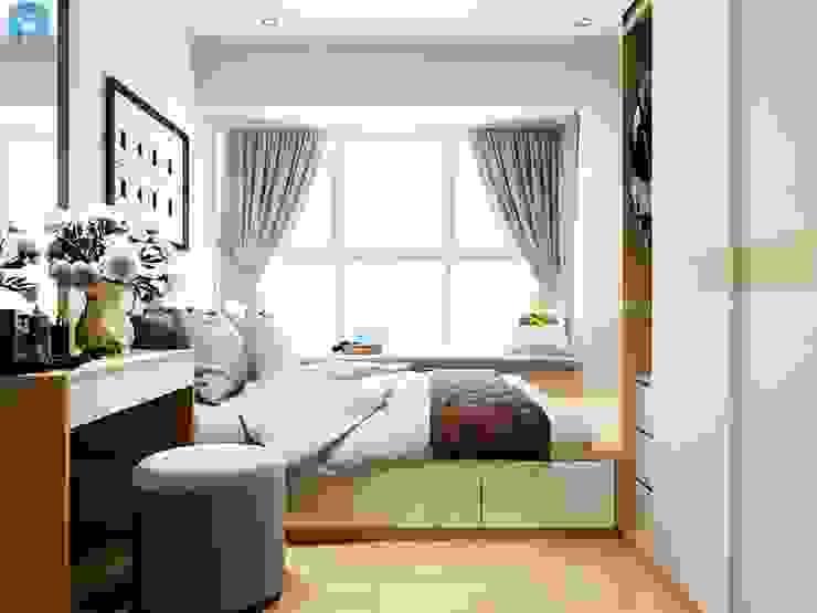 Thiết kế nội thất căn hộ cao cấp ECO GREEN SAI GON – 97m2 – 3 phòng ngủ Phòng ngủ phong cách mộc mạc bởi Công ty TNHH Nội Thất Mạnh Hệ Mộc mạc Gỗ Wood effect