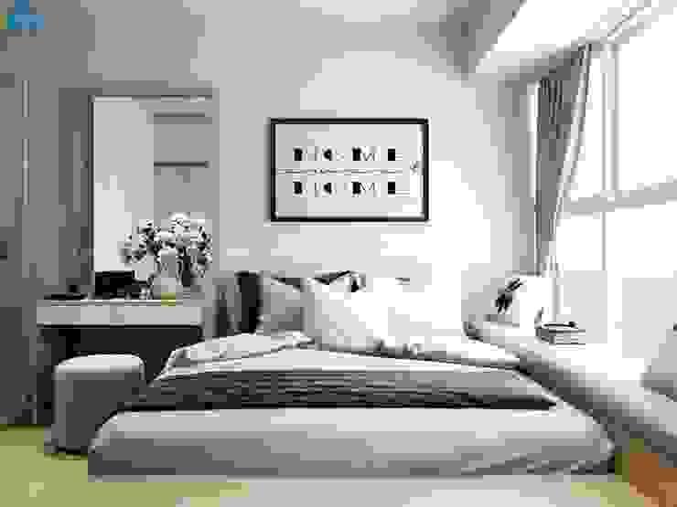 Thiết kế nội thất căn hộ cao cấp ECO GREEN SAI GON – 97m2 – 3 phòng ngủ Phòng ngủ phong cách hiện đại bởi Công ty TNHH Nội Thất Mạnh Hệ Hiện đại Gỗ Wood effect