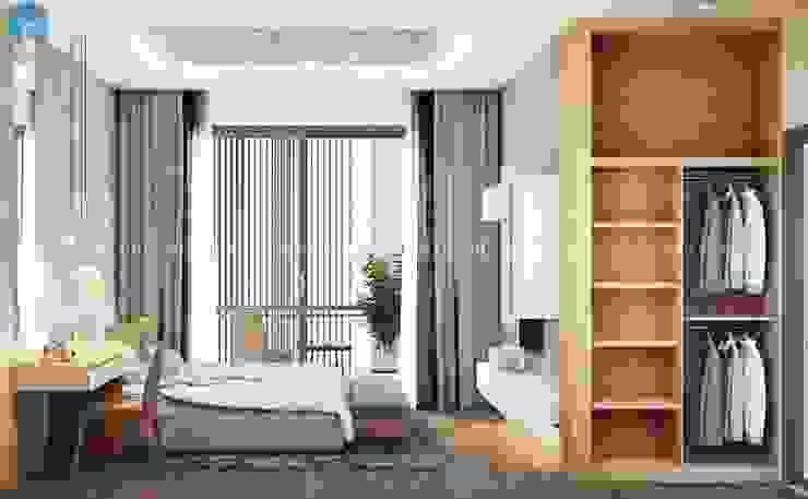 Thiết kế nội thất căn hộ cao cấp ECO GREEN SAI GON – 97m2 – 3 phòng ngủ Phòng ngủ phong cách Bắc Âu bởi Công ty TNHH Nội Thất Mạnh Hệ Bắc Âu