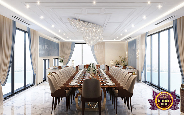 Luxurious Dining Room with Great Furniture Arrangement by Luxury Antonovich Design