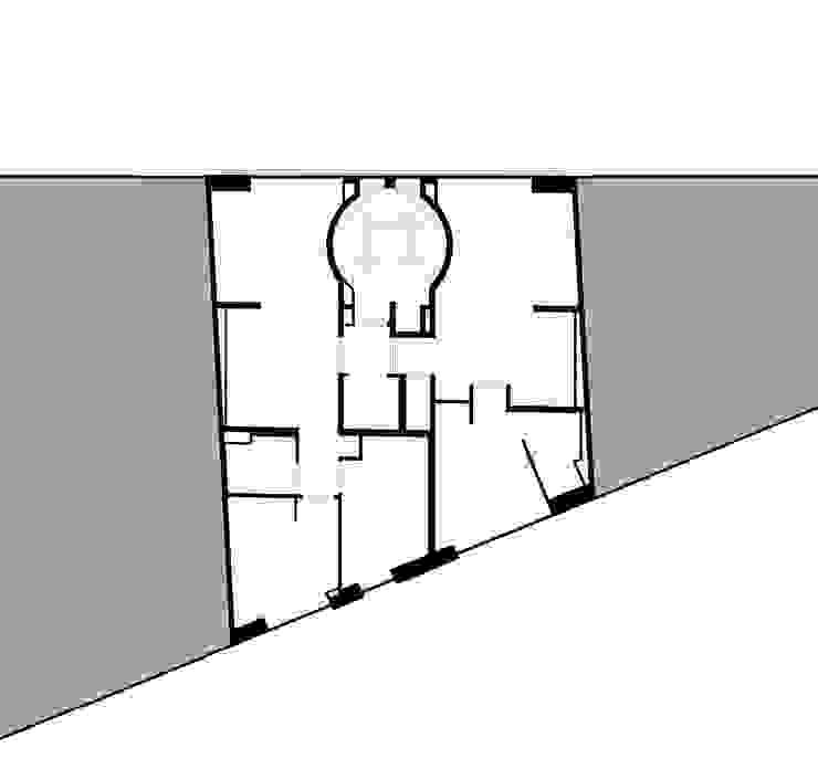 Plano de planta de distribución Casas de estilo moderno de SANTI VIVES ARQUITECTURA EN BARCELONA Moderno