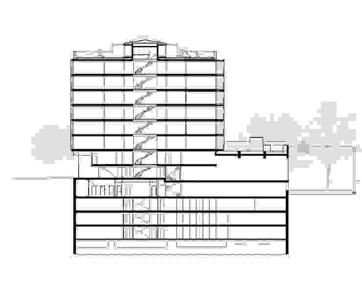 Sección del edificio Casas de estilo moderno de SANTI VIVES ARQUITECTURA EN BARCELONA Moderno