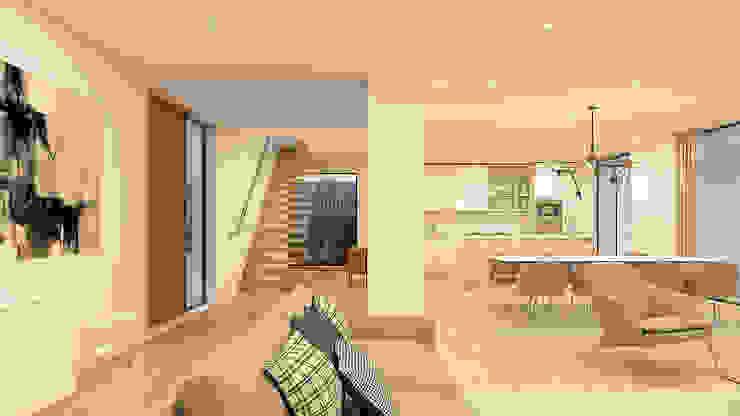 CASA I&J - Moradia em Oeiras - Projeto de Arquitetura Corredores, halls e escadas modernos por Traçado Regulador. Lda Moderno Madeira Acabamento em madeira