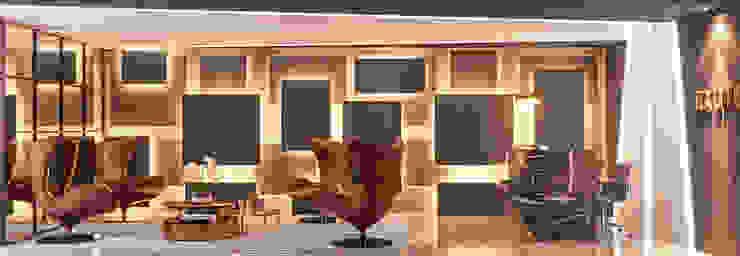 RECEPÇÃO PAINEL ILUMINADO Escritórios modernos por Camila Pimenta | Arquitetura + Interiores Moderno Madeira Efeito de madeira