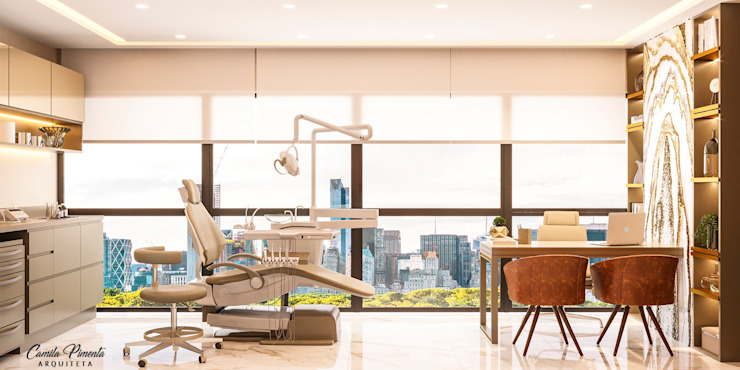 Sala atendimento clinica estética Clínicas modernas por Camila Pimenta   Arquitetura + Interiores Moderno Madeira Efeito de madeira