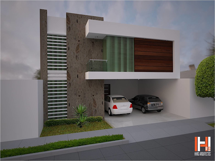 FACHADA CON BALCÓN LATERAL Casas minimalistas de HHRG ARQUITECTOS Minimalista