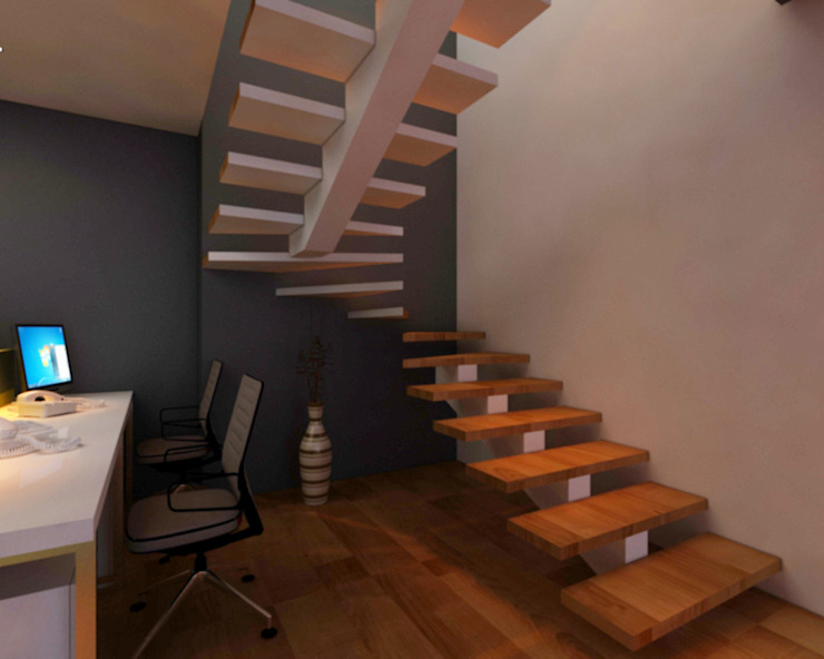 Staircase Minimalist study/office by SPACE DESIGN STUDIOS Minimalist