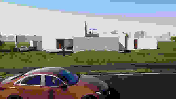 Fachada a la calle Casas de estilo mediterráneo de Casas del Girasol- arquitecto Viña del mar Valparaiso Santiago Mediterráneo