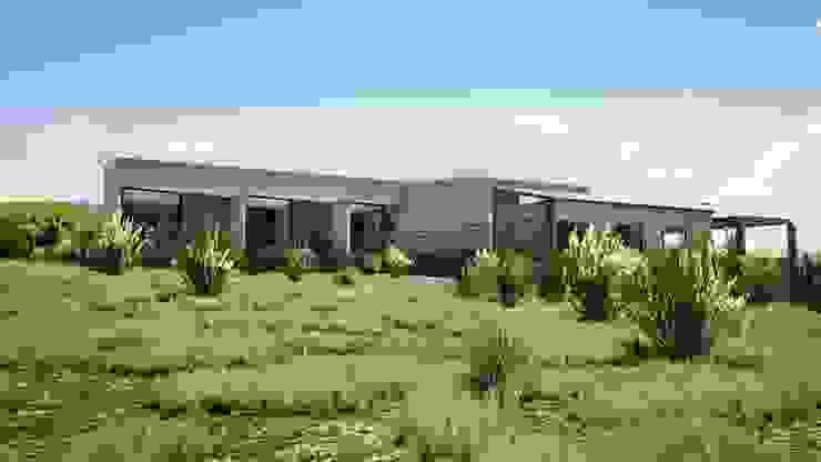 Fachada hacia el valle Casas de estilo mediterráneo de Casas del Girasol- arquitecto Viña del mar Valparaiso Santiago Mediterráneo