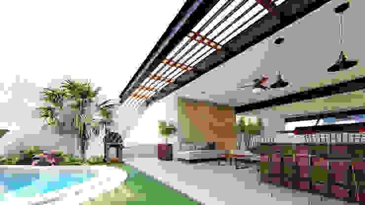 TERRAZA AMÁNDALA PERUSQUÍA Balcones y terrazas modernos Concreto Multicolor