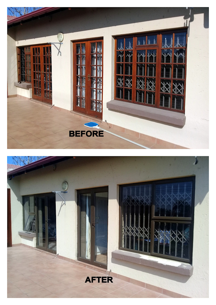WOOD REPLACED WITH BRONZE ALUMINIUM by ALUWOOD WINDOWS AND DOORS