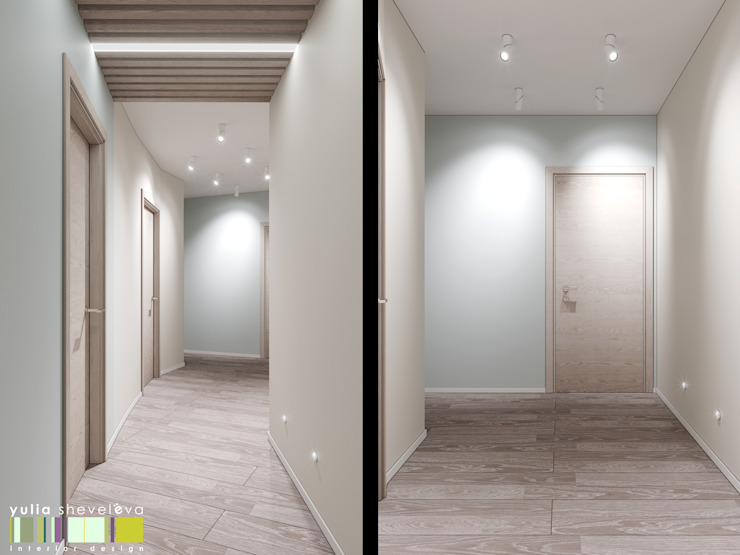 Corredores, halls e escadas ecléticos por Мастерская интерьера Юлии Шевелевой Eclético