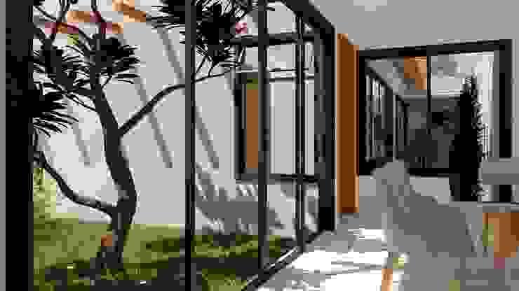Sala de jantar em meio aos jardins por Daniela Ponsoni Arquitetura