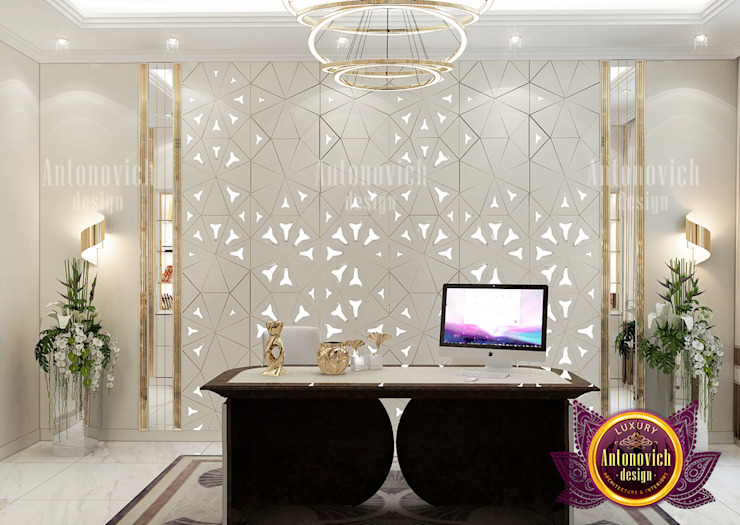 Luxurious Home Office Interior with Stunning Furniture Set by Luxury Antonovich Design