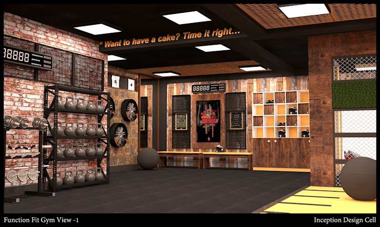 Rustic style gym by Inception Design Cell Rustic Wood Wood effect