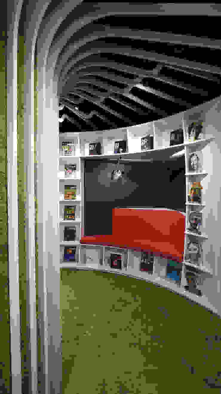 弧形書櫃融合等待區 根據 亚卡默设计 Akuma Design 簡約風 合板