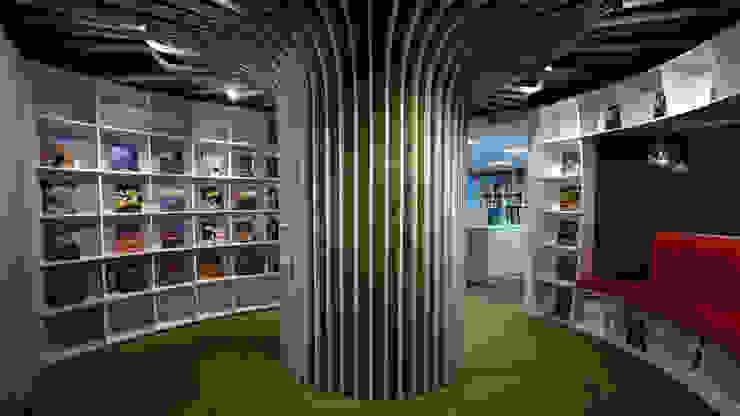 柱樹與書櫃關係 根據 亚卡默设计 Akuma Design 簡約風 合板