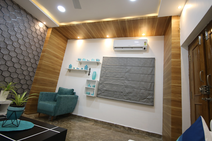 Woody Ceiling in Living Room Modern living room by Enrich Interiors & Decors Modern