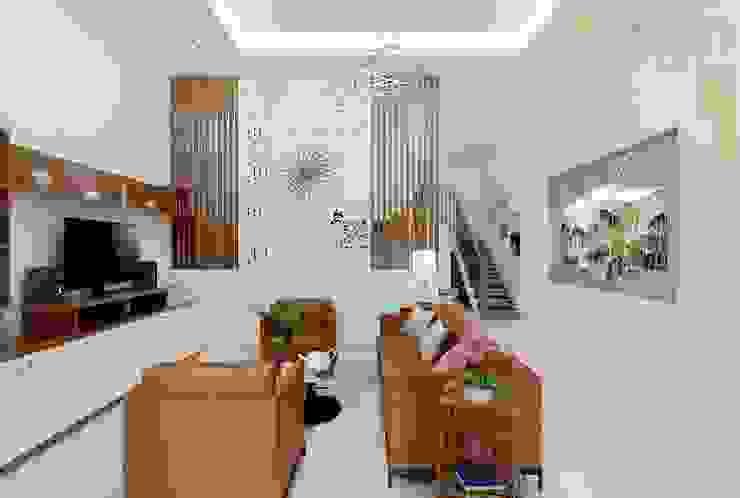 Nhà Chị Huyền Bình Định Phòng khách phong cách châu Á bởi Công ty TNHH Thiết Kế Xây Dựng Xanh Hoàng Long Châu Á Bần