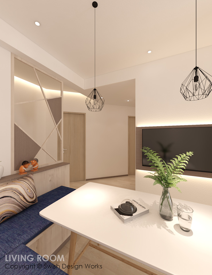 Living cum dining area Modern living room by Swish Design Works Modern Plywood